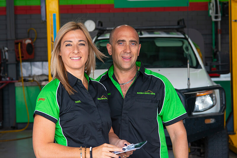 Noranda Service Centre Gallery Images - Owner Mechanic Adrian and Co-Owner Anne